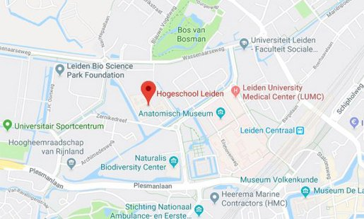 Hogeschool Leiden in Google Maps